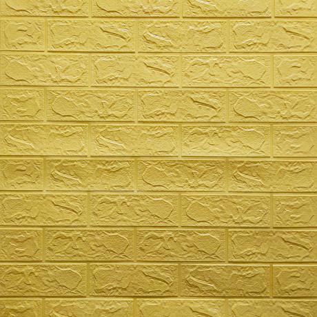 Самоклеящаяся 3D панель желто-песочный кирпич 700x770x3мм