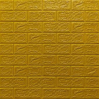 Самоклеющаяся 3D панель под кирпич золото 700x770x5мм