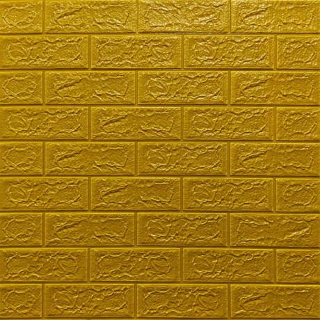 Самоклейка 3D панель під цеглу золото 700x770x5мм