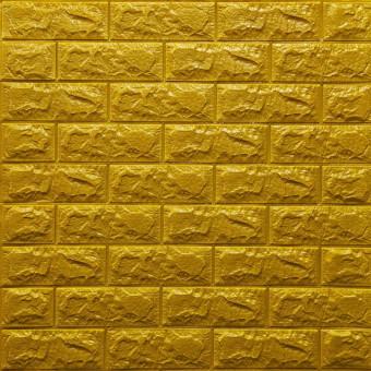 Самоклеющаяся 3D панель под кирпич золото 700x770x7мм