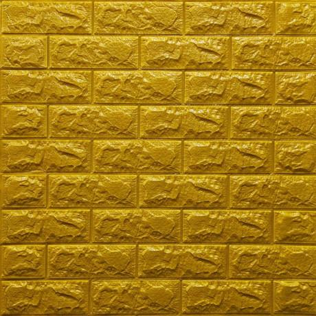 Самоклейка 3D панель під цеглу золото 700x770x7мм