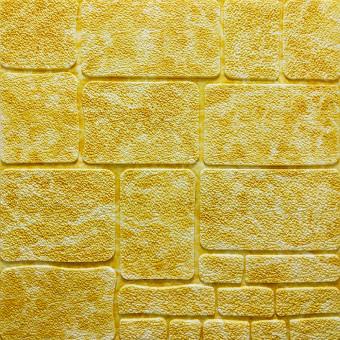 Самоклейка 3D панель камінь жовтий мрамор 700x700x8мм (152)