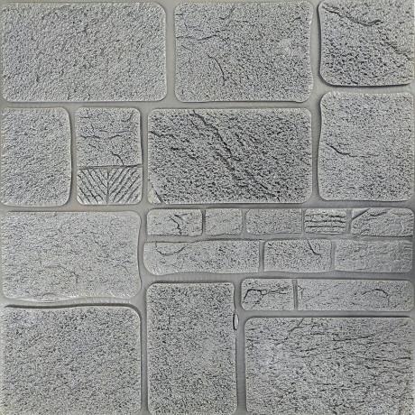 Самоклейка 3D панель камінь срібло 700x700x8мм