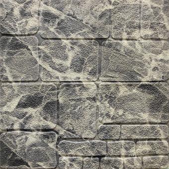 Самоклеящаяся 3D панель камень черно-белый мрамор 700х700х8мм