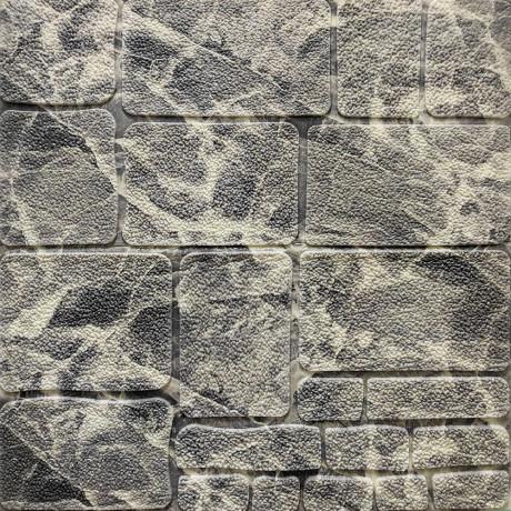 Самоклейка 3D панель камінь чорно-білий мармур 700x700x8мм