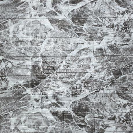 Самоклеящаяся декоративная 3D панель серый рваный кирпич 700х770х5мм