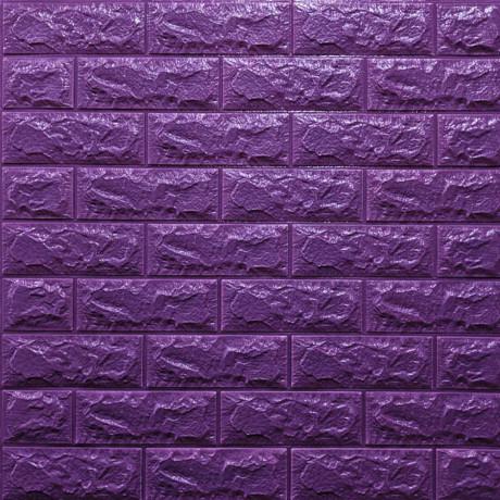 Самоклеющаяся декоративная 3D панель под фиолетовый кирпич
