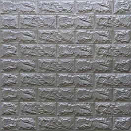 Самоклеющаяся 3D панель под кирпич серебро 700x770x7мм