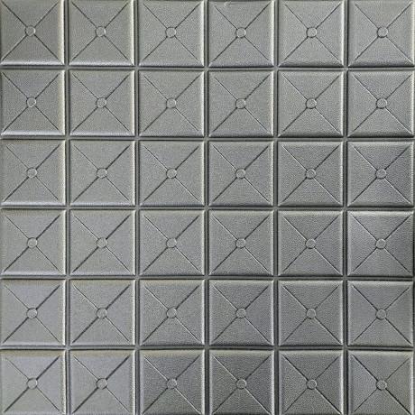 Самоклейка 3D панель квадрат срібло 700x700x8мм