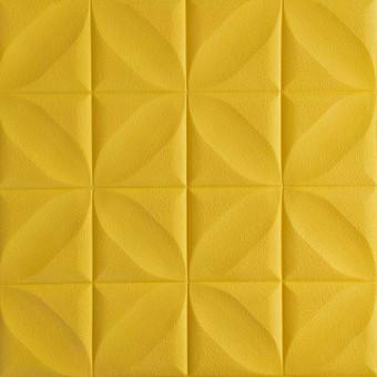 Самоклейка 3D панель жовтий ромб 700x700x8мм