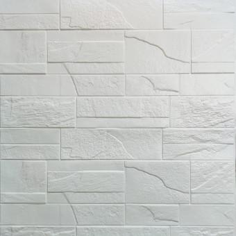 Самоклеюча 3D панель біла бита цегла 700х770х5мм