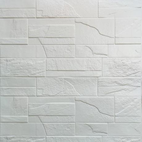 Самоклеящаяся декоративная 3D панель белый битый кирпич 700х770х6мм