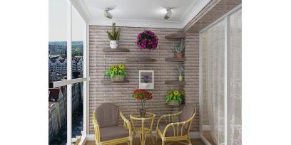 3Д панели в интерьере балкона