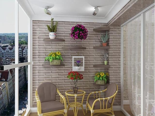 3Д панелі в інтер'єрі балкона