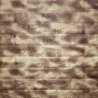 Самоклеюча 3D панель коричнева з золотим 700x770x5мм
