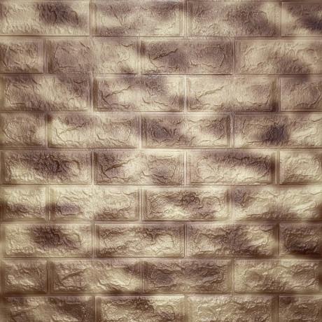 Самоклеющаяся 3D панель коричневая с золотым 700x770x5мм