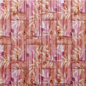 Самоклеющаяся 3D панель бамбуковая кладка оранжевая 700x700x8мм