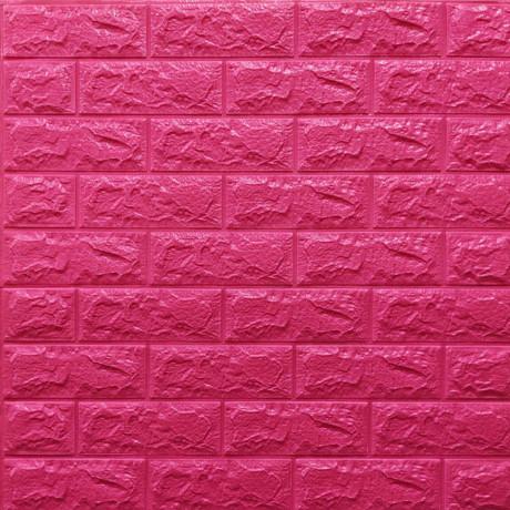 Самоклейка 3D панель під темно-рожеву цеглу 700x770x7мм