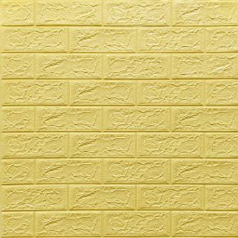 Самоклеющаяся 3D панель желто-песочный кирпич 700x770x5мм