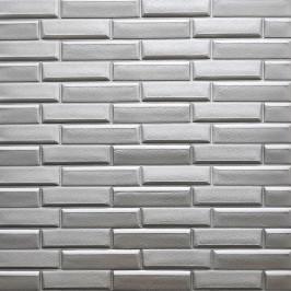 Самоклеющаяся 3D панель кладка серебро 700x770x7мм (34)