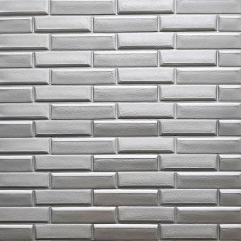 Самоклеющаяся 3D панель кладка серебро 700x770x7мм