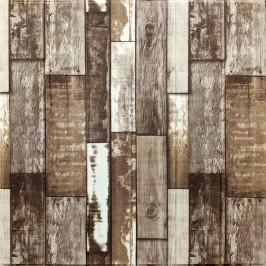 Самоклеющаяся 3D панель коричневое дерево 700x700x5мм