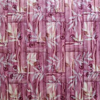 Самоклеющаяся 3D панель бамбуковая кладка розовая 700x700x8мм