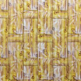 Самоклеющаяся 3D панель бамбуковая кладка желтая 700x700x8мм