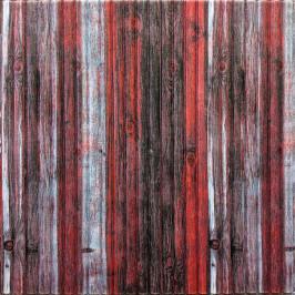 Самоклейка 3D панель бамбук червоно-сірий 700x700x8мм