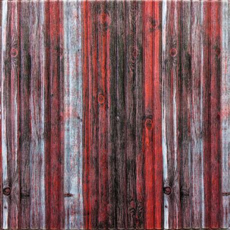 Самоклейка 3D панель бамбук червоно-сірий 700x700x8,5мм